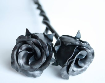 USA Made Forever Love Unity Entwined Rose Buds Wedding gift Handmade Forged Iron Flower Steel 6th Anniversary Gift Mothers Day Valentine's
