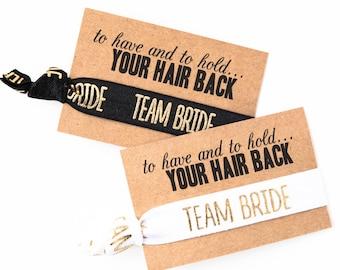 YOU DESIGN Bachelorette Party Hair Tie Favors   White + Gold Bachelorette Party Hair Tie Favors, Bridesmaid + Team Bride Bachelorette Favors
