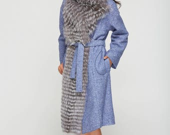 Blue Сashmere Сoat with gray silver fox