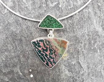 Uvarovite and ocean jasper sterling silver pendant,artisan pendant, OOAK