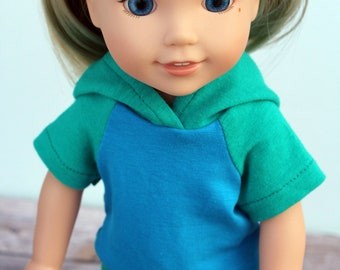 SAMPLE SALE - Fits like Wellie Wishers Doll Clothes - Raglan Hoodie in Jade and Turquoise