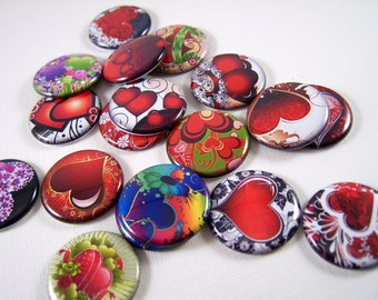 """1"""" Flat Back Buttons, Multi Color Heart Cabochons 12 Count"""