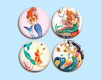 "Vintage mermaids - pinback badge buttons or magnets 1.5"""