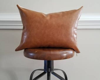The Caramel Leather Pillow Cover