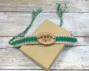 Green and White Pop Up Camper Braided Bracelet, Pop Up Travel Trailer, Pop Up Camper Jewelry, Camper Jewelry for Campers, Pop Up Bracelet