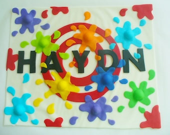 PAINTBALL Personalized Edible Fondant Cake Topper Plaque 1/4 sheet
