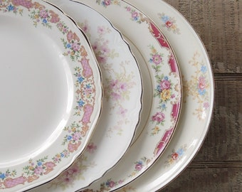 Vintage Mismatched Dinner Plates Set of 4 Lunch Plates Tea Party Farmhouse China Wedding Bridal Replacement China Ca 1940s