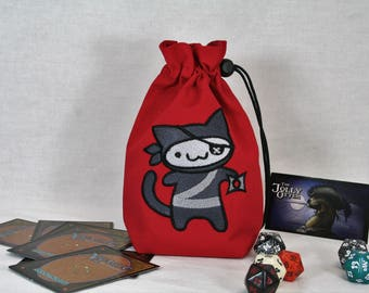 Dice Bag, Flat Bottom with Embroidered Adorable Ninja Kitty on Red, 4x7x2, Drawstring Closure with Cord Lock