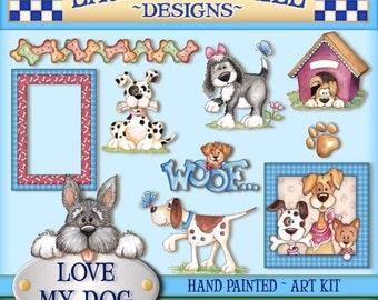 Dog Digital Art, Dog clipart, dog art, Digital Art, cute digital art, Laurie Furnell art, dog printables, papercrafts, scrapbooking,clip art
