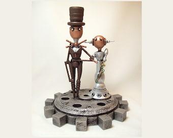 Elegant Wedding Cake Topper Steampunk Gear Base Robot Couple Groom Bride Wood Sculpture