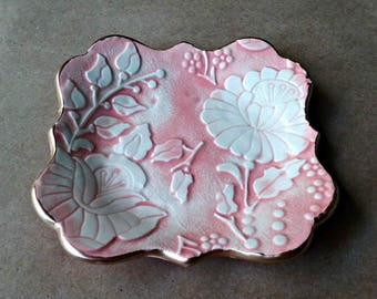 Ceramic Trinket Dish Jewelry Dish Coral edged in gold