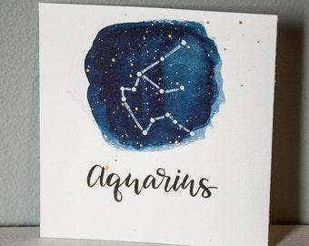 Aquarius Constellation Painting - Galaxy, Night Sky, Stars, Original Watercolor