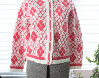 1960s Argyle and Daisies Knit Cardigan