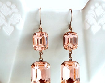 Vintage Swarovski Peach Rhinestone Earrings Retro Old Hollywood Glamour Bridal Bridesmaids