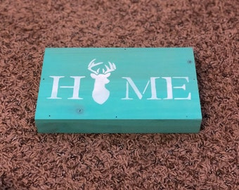 Home With Deer Antlers Wood Box Sign in Seafoam Green and White