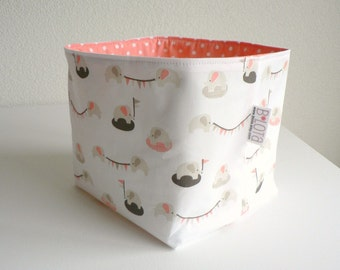 Baby toy storage organic storage basket pink nursery storage elephant diaper caddy toy storage baby gifts baby shower gifts baby girl