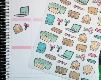 Kawaii Office and Planner Stickers!  Perfect for Erin Condren Life Planner, MAMBI/Happy Planner, Plum Planner, Etc.