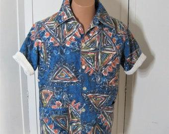 "50s Vintage Men's Cabana Shirt Terry Lined, Jantzen Swimwear, Blue Batik Aloha Tiki Hawaiian Pool Beach Jacket, Neck 15.5"" Medium"