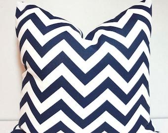SIZZLING SUMMER SALE New Outdoor Pillow Navy Blue & White Chevron Zig Zag Outdoor Deck Porch 18x18
