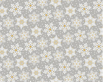 Land of Snow Grey Fabric Yard, Snowflake Waltz Collection, Christmas 2017, by Maude Asbury For Blend Fabrics, 101.131.05.1