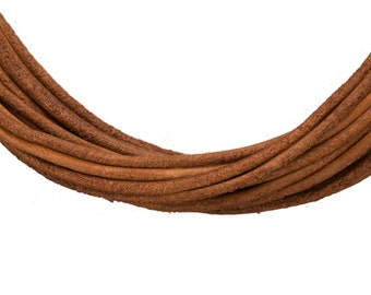 Full-grain leather cord, 1.5mm round natural brown 5 yard roll