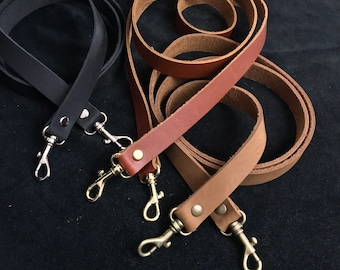 """Replacement leather purse straps. 3/4"""" wide strap w/ snap hook, swivel hook leather purse strap brown, black, brass, silver, antique brass"""