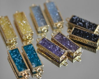 4pcs Rectangle Bezel Gemstone Connector, Zircon Quartz Links Pendant, Druzy Gold Plated Brass Charms 30mm (GB-005)