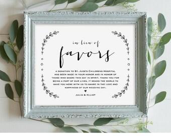 In Lieu of Favors Sign, Printable Wedding Sign, Wedding Donation Sign Template, Rustic Vintage Laurels, Instant Download, PDF 8x10 #VW06