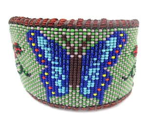 Native American Inspired Beaded Blue and Green Butterfly on Deer Hide