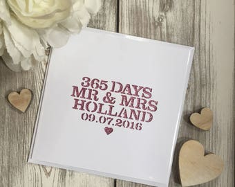 1st Anniversary glitter papercut card with date