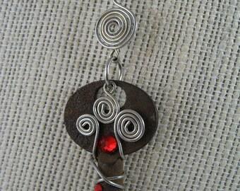 Garnet Key Pendant