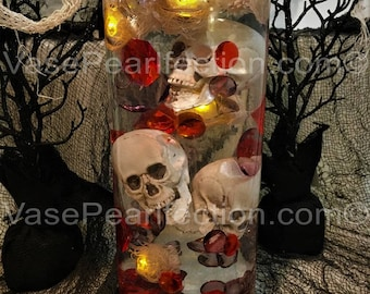 DIY 60 Halloween Floating Jumbo Skulls, Diamonds and Pearls - Jumbo/Assorted Sizes Vase Fillers for Centerpieces