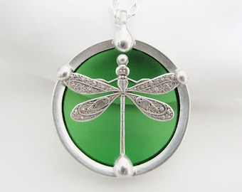 Dragonfly Pendant Necklace Green Stained Glass Jewelry