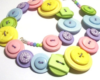 Summer Pastels Green, Pink, Lilac, Yellow & Blue button necklace Button Jewellery Button Jewelry UK Handmade