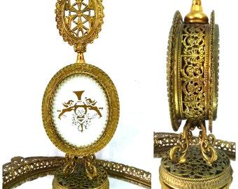 Antique Perfume Bottle Ornate Gold Gilt Filigree Ormolu White Opaline Art Deco Cherubs Angels