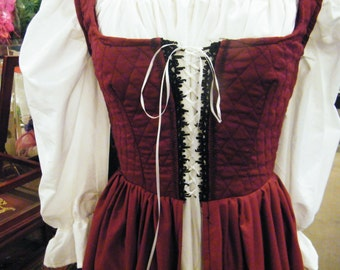 handmade renaissance fair wench maiden medieval costume  burgandy over dress and chemise