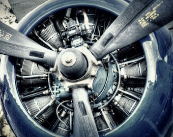 Radial Engine and Propeller - Vintage Aviation Art, Airplane Art, Airplane Photography, Pilot Gift, Aircraft Photography, Propeller Photo