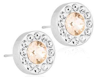 Halo Earrings, Golden Rose, Blomdahl Earrings, Swarovski Crystal,  Earrings for sensitive Ears, Medical Grade Titanium Earrings