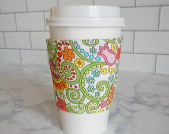 Reusable Coffee Sleeve-Psychedelic Floral Print