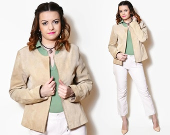 90s suede jackets short beige country western Long Sleeve Cowgirl 90s Cowboy Women Tan Jacket Leather 90s Zip Jacket Vintage Suede Gypsy