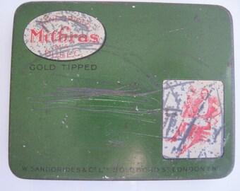 Mithras Gold Tipped Egyptian cigarette tin (10/empty) - W. Sanorides, London c.1905/15
