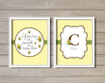 Bumble Bee Baby Name Nursery Printable - 8x10  - Bee, Yellow, Digital Printable Poster, Print, Art, Download and Print JPEG Image