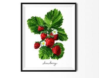 Strawberry Print, Food Art, Food Illustration, Botanical Art, Kitchen Decor, Fruit Painting, Art Print, Fruit Print, Strawberries Painting