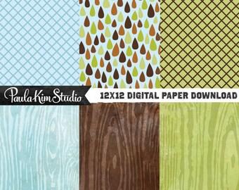 Woodgrain, Tear Drop, Lattice Pattern Digital Paper Instant Download