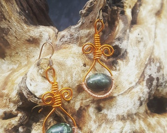 Wirewrapped serpentine earrings