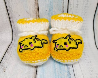 Pokemon Pikachu knitted baby booties, gender neutral booties, Pokemon newborn shoes, Pikachu crib shoes, baby shower gift, baby reveal ideas
