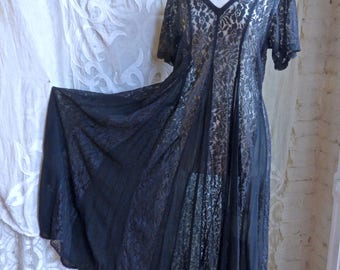 Sheer Black Lace and Chiffon Paneled Maxi Dress