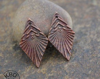 Handmade Copper Chevron Diamond Component pair