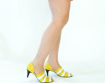Yellow sandals // Heeled mules // Leather sandals // Peep toes // Low heeled clogs // cut outs // Womens yellow shoes // Chic women sandals