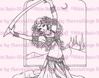 Digital Stamp Instant Download - Desert Rose Full Version - Belly Dancer - Middle Eastern Dance - Fantasy Line Art by AuroraWings
